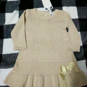 Gold shimmer long sleeve sweater dress 9m